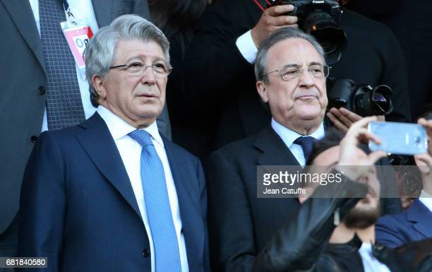 President of Atletico Madrid Enrique Cerezo and President of Real Madrid Florentino Perez attend the UEFA Champions League Semi Final second leg...