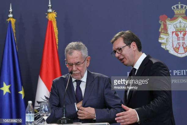 President of Austria Alexander Van der Bellen and President of Serbia Aleksandar Vucic chat after a joint press conference in Belgrade Serbia on...
