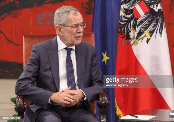 President of Austria Alexander Van der Bellen attends a meeting with President of Serbia Aleksandar Vucic in Belgrade Serbia on October 17 2018