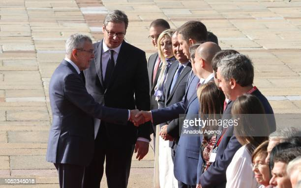 President of Austria Alexander Van der Bellen is welcomed by President of Serbia Aleksandar Vucic with an official welcoming ceremony ahead of their...
