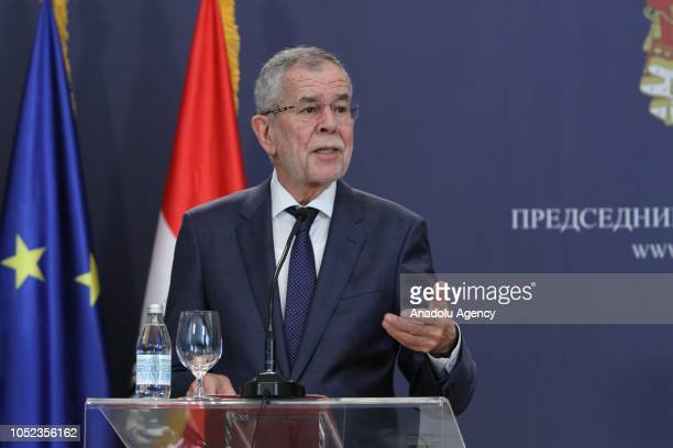 President of Austria Alexander Van der Bellen speaks during a joint press conference held with President of Serbia Aleksandar Vucic in Belgrade...
