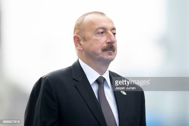 President of Azerbaijan Ilham Aliyev arrives at the 2018 NATO Summit at NATO headquarters on July 12 2018 in Brussels Belgium Leaders from NATO...