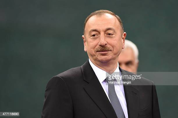 President of Azerbaijan Ilham Aliyev attend the Men's Wrestling Greco Roman finals during day two of the Baku 2015 European Games at Heydar Aliyev...