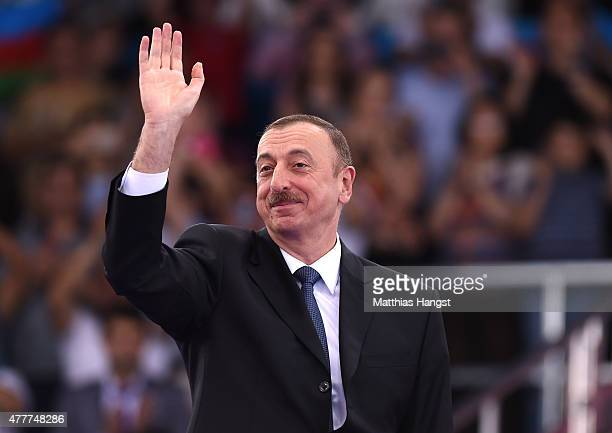President of Azerbaijan Ilham Aliyev attends the medal ceremony for the Taekwondo on day seven of the Baku 2015 European Games at the Crystal Hall on...
