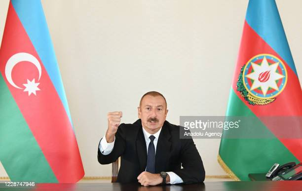 President of Azerbaijan Ilham Aliyev delivers a speech to the nation following an attack launched by Armenia against Azerbaijan, on September 27 in...