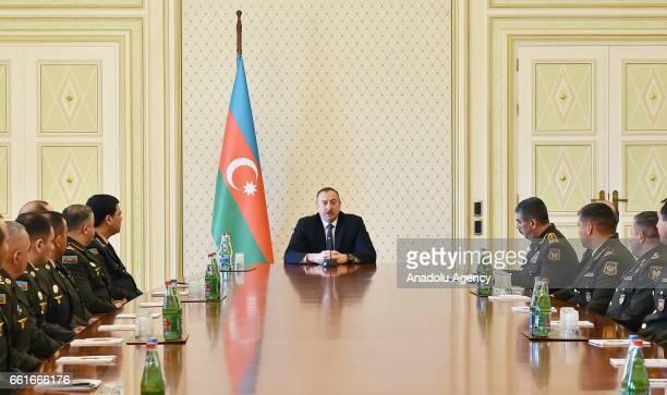 President of Azerbaijan Ilham Aliyev receives highlevel officers of Azerbaijani Defense Ministry and Azerbaijani army officers in Baku Azerbaijan on...
