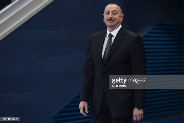 President of Azerbaijan Republic Ilham Aliyev arrives for Women's Kumite 61kg medals ceremony on day two of Baku 2017 4th Islamic Solidarity Games at...