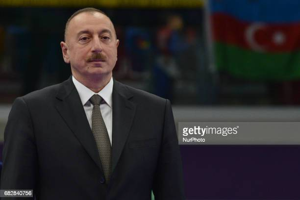 President of Azerbaijan Republic Ilham Aliyev during Women's Kumite 61kg medals ceremony on day two of Baku 2017 4th Islamic Solidarity Games at Baku...