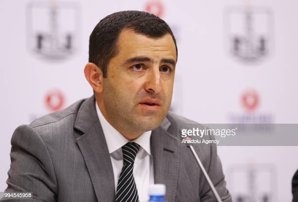 President of Azerbaijani football club Neftchi Kamran Guliyev attends the signing ceremony of Brand Cooperation Agreement between Turkish Airlines...