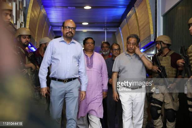 President of Bangladesh Cricket Board Nazmul Hassan Papon along with MohammedJalalYunus approaching to a press conference after the arrival of...