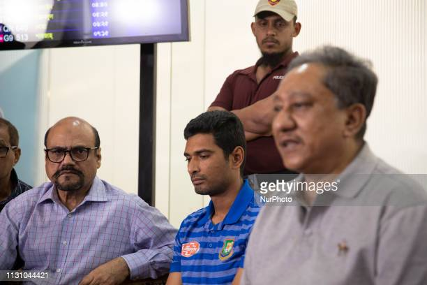 President of Bangladesh Cricket Board Nazmul Hassan Papon speaks during a press conference after the arrival of Bangladesh National Cricket team in...