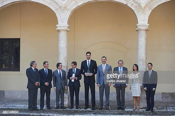 President of Bankia Jose Ignacio Goirigolzarri Spanish basketball player Pau Gasol and King Felipe VI of Spain attend the Camino Real award at the...