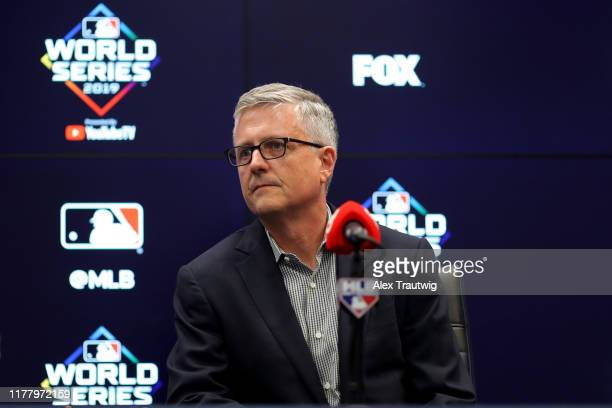 President of Baseball Operations and General Manager Jeff Luhnow of the Houston Astros talks to the media during the press conference during the...