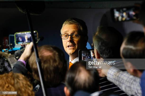 President of Baseball Operations and General Manager of the Houston Astros Jeff Luhnow addresses the media prior to the Game Four of the American...