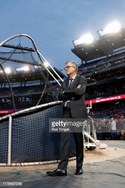 President of Baseball Operations and General Manager of the Houston Astros Jeff Luhnow watches batting practice prior to Game 4 of the 2019 World...