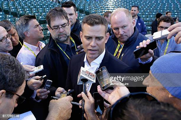 President of Baseball Operations for the Chicago Cubs Theo Epstein is interviewed prior to game six of the National League Championship Series...
