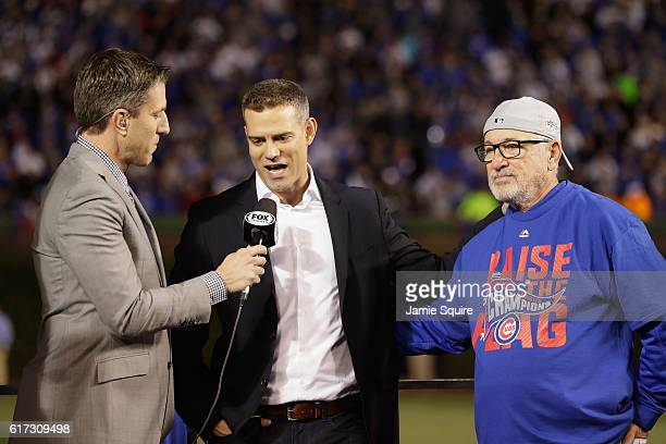 President of Baseball Operations for the Chicago Cubs Theo Epstein is interviewed after the Chicago Cubs defeated the Los Angeles Dodgers 50 in game...