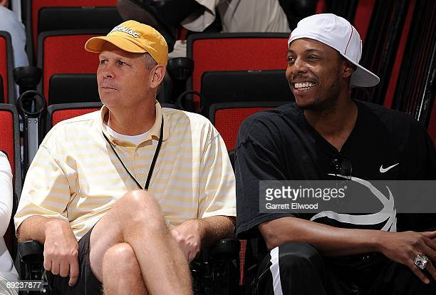 President of Basketball Operations Danny Ainge and Paul Pierce of the Boston Celtics watch the action between the Toronto Raptors and the Phoenix...