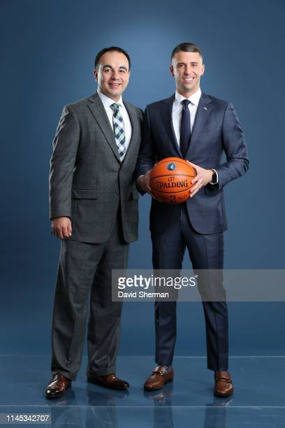 President of Basketball Operations Gersson Rosas and Head Coach Ryan Saunders of the Minnesota Timberwolves pose for a portrait on May 21 2019 at the...