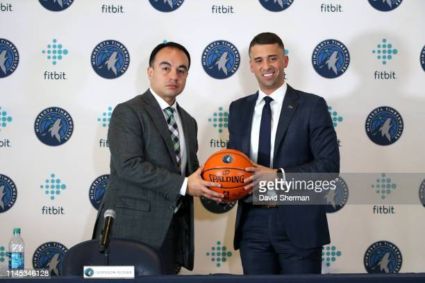President of Basketball Operations Gersson Rosas and Head Coach Ryan Saunders of the Minnesota Timberwolves pose for a photo during a press...
