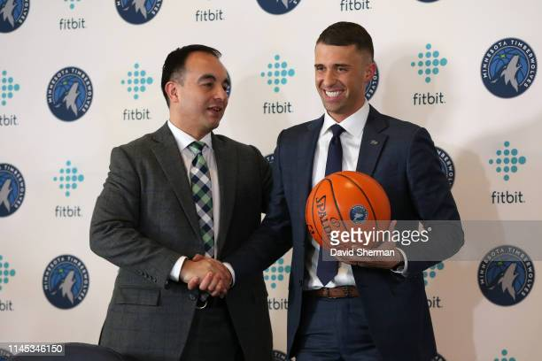 President of Basketball Operations Gersson Rosas and Head Coach Ryan Saunders of the Minnesota Timberwolves shake hands during a press conference on...