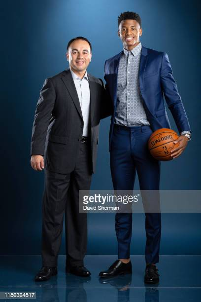 President of Basketball Operations Gersson Rosas and Jarrett Culver of the Minnesota Timberwolves pose for a portrait on July 18 2019 at the...