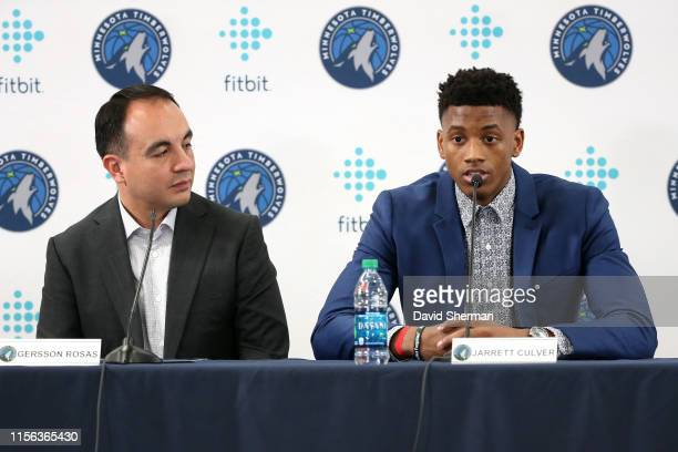 President of Basketball Operations Gersson Rosas and Jarrett Culver of the Minnesota Timberwolves speak to the media during the introductory press...