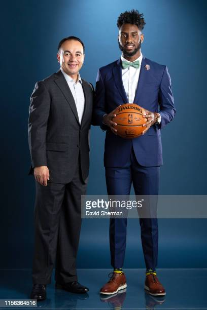 President of Basketball Operations Gersson Rosas and Jaylen Nowell of the Minnesota Timberwolves pose for a portrait on July 18 2019 at the Minnesota...