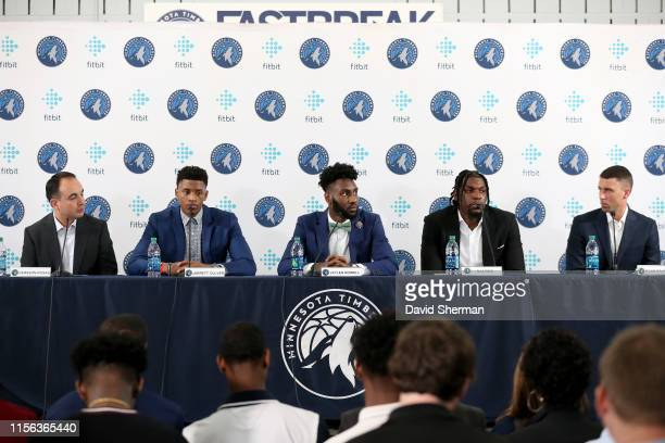 President of Basketball Operations Gersson Rosas Jarrett Culver Jaylen Nowell Naz Reid and Head Coach Ryan Saunders speak to the media during the...
