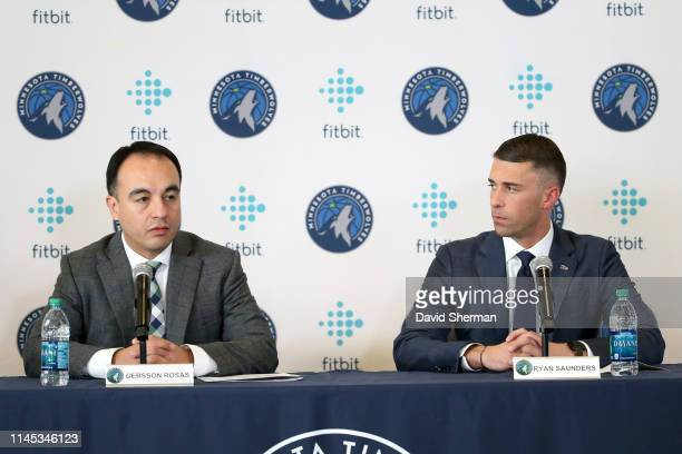 President of Basketball Operations Gersson Rosas of the Minnesota Timberwolves introduces Ryan Saunders as the new head coach during a press...