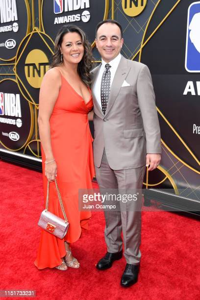 President of Basketball Operations Gersson Rosas of the Minnesota Timberwolves poses for a photo on the red carpet before the 2019 NBA Awards Show on...