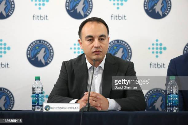 President of Basketball Operations Gersson Rosas of the Minnesota Timberwolves looks on during the introductory press conference on July 18 2019 at...