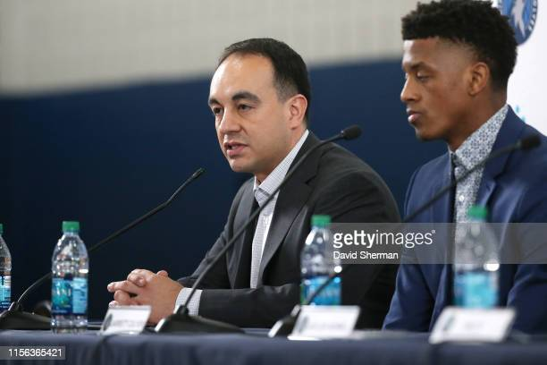 President of Basketball Operations Gersson Rosas of the Minnesota Timberwolves speaks to the media during the introductory press conference on July...
