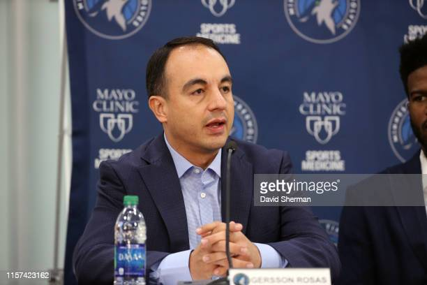 President of Basketball Operations Gersson Rosas of the Minnesota Timberwolves speaks during the introductory press conference on July 23 2019 at the...