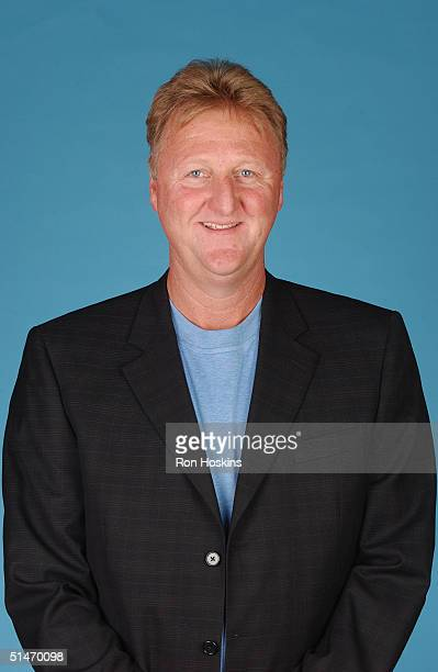 President of basketball operations Larry Bird of the Indiana Pacers poses for a portrait during NBA Media Day on October 4, 2004 in Indianapolis,...