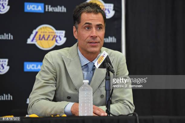 President of Basketball Operations Magic Johnson and General Manager Rob Pelinka introduce Kentavious CaldwellPope of the Los Angeles Lakers during a...