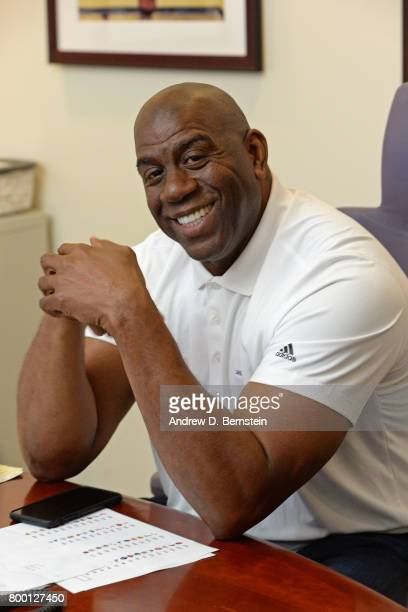 President of Basketball Operations Magic Johnson smiles and poses for a photo in the draft room during the 2017 NBA Draft in El Segundo California...