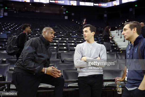 President of Basketball Operations Masai Ujiri and General Manager Bobby Webster of the Toronto Raptors speak to ESPN writer Zach Lowe during...