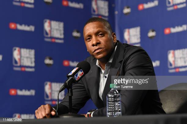 President of Basketball Operations Masai Ujiri of the Toronto Raptors speaks to the media during practice and media availability as part of the 2019...