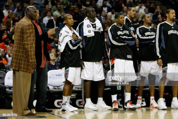 President of Basketball Operations Michael Jordan talks to Sean May of the Charlotte Bobcats during their game against the Orlando Magic on February...