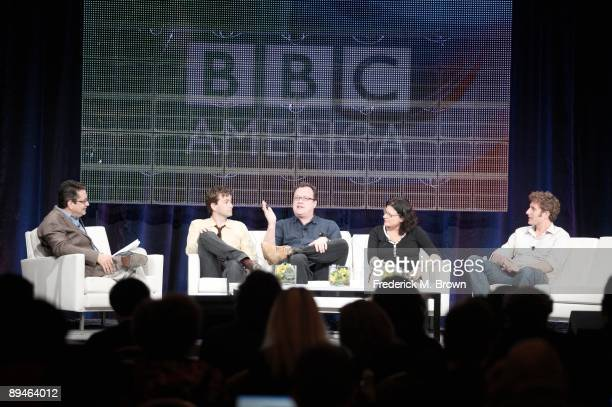 President of BBC Wordwide America Garth Ancier, actor David Tennant, executive producer Russell T. Davies, producer Julie Gardner and director Euros...
