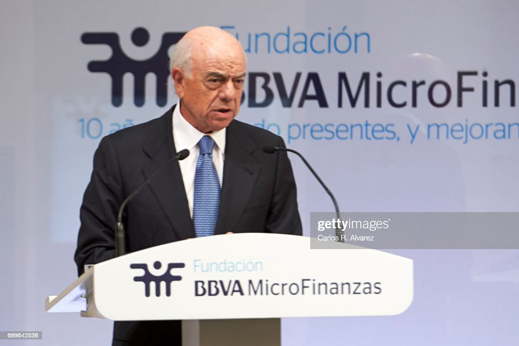 President of BBVA Bank Francisco Gonzalez attends the 10th Anniversary of 'Microfinanzas BBVA' at the BBVA Bank Foundation on May 29, 2017 in Madrid, Spain.