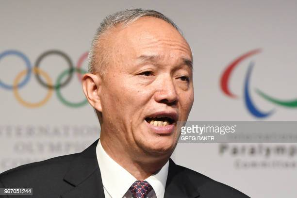 President of Beijing 2022 Cai Qi speaks at the opening session of the Pyongchang 2018 Debrief meeting in Beijing on June 4 2018 The IOC is holding...