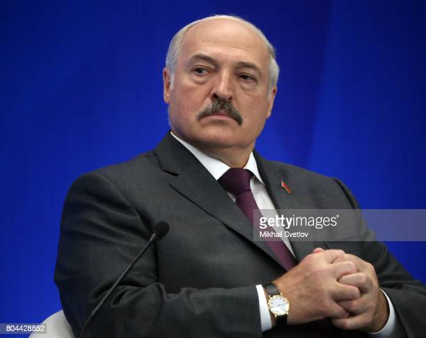 President of Belarus Alexander Lukashenko attends the Forum of regions of Russia and Belarus with Russian President Vladimir Putin on June 30 2017 in...