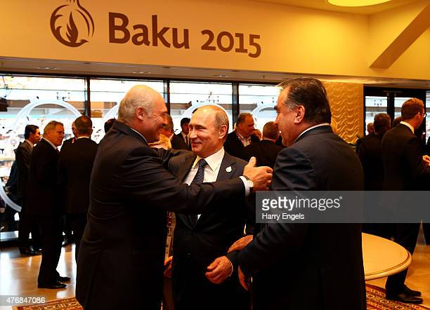 President of Belarus Alexander Lukashenko greets Presiden of Russia Vladimir Putin during the Opening Ceremony for the Baku 2015 European Games at...