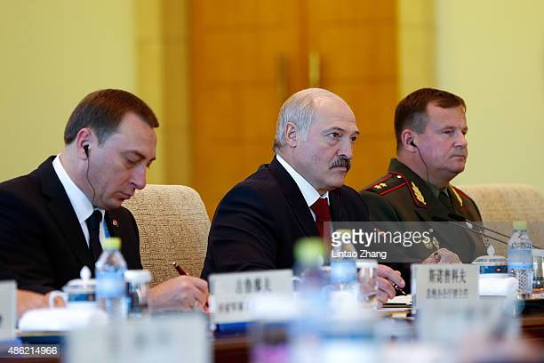 President of Belarus Alexander Lukashenko meets with Chinese President Xi Jinping at Diaoyutai State Guesthouse on September 2 2015 in Beijing China...