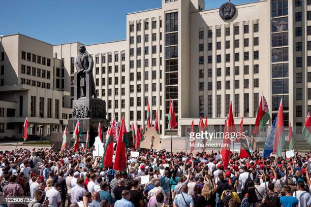 President of Belarus Alexander Lukashenko speaks at a proLukashenko rally on August 16 2020 in Minsk Belarus There have been daily demonstrations in...