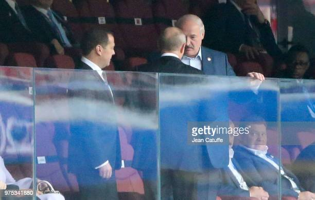 President of Belarus Alexander Lukashenko with President of Russia Vladimir Putin while Prime Minister of Russia Dmitry Medvedev looks on during the...