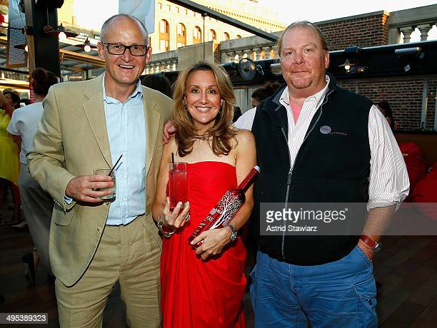 President of Belvedere Charles Gibb CEO Deborah Dugan and Chef Mario Batali attend The Launch Of EAT DRINK SAVE LIVES at Eataly Birreria on June 2...