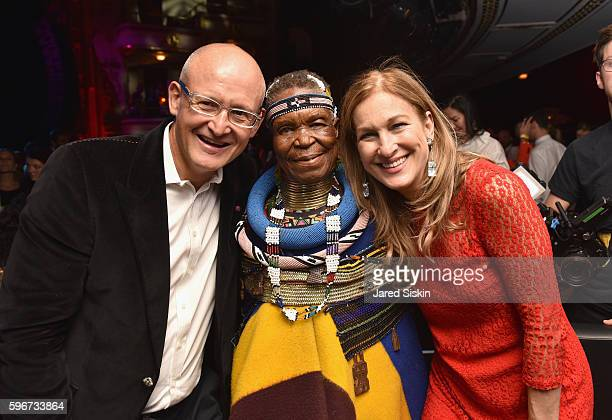 President of Belvedere Vodka Charles Gibb artist Esther Mahlangu and CEO of Deborah Dugan attend the Belvedere Presents One Night for Life with John...